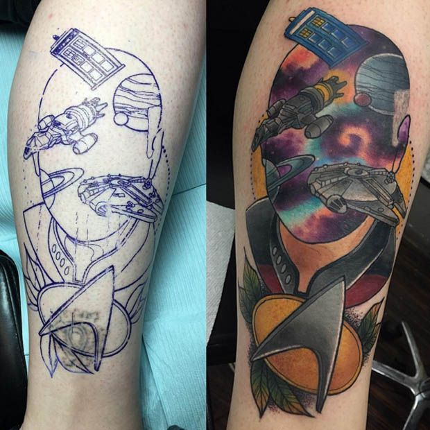 The always creative Jay Joree stuff's Captain Picard's head with all sorts of sci-fi goodness! #inked #inkedmag #tattoo #art #startrek #ink #picard