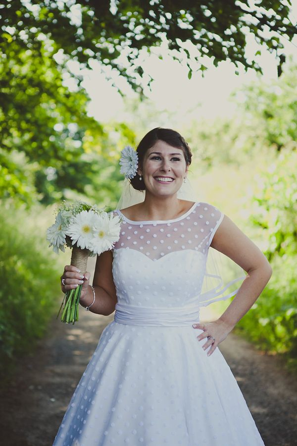 A 50's Style Candy Anthony Gown For A Green Polka Dot Inspired Barn Wedding http://www.amybphotography.co.uk/
