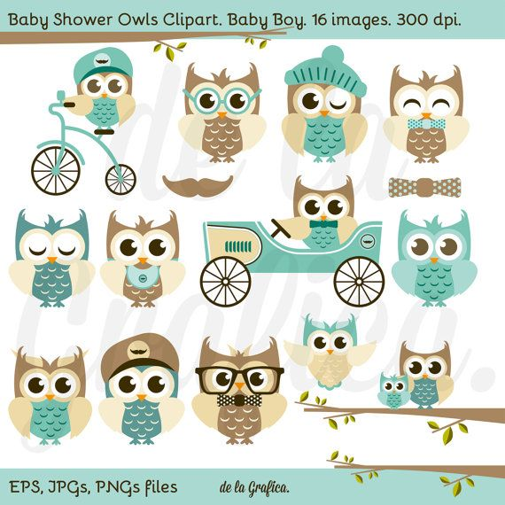 Baby Shower Owls. Boy Baby Shower Clip Art Clipart. by Delagrafica, $5.00