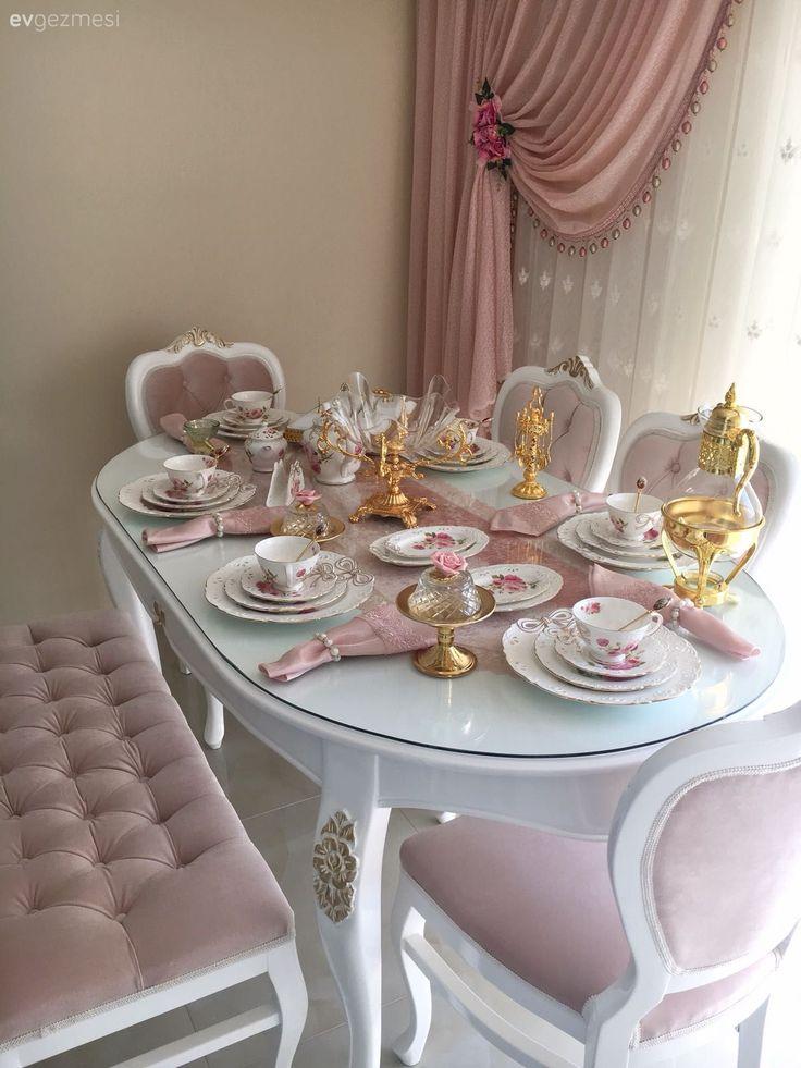 Sunum, Mutfak masası, Mutfak, Altın, Pembe, Pastel, Fon perde, Mutfak perdesi,…