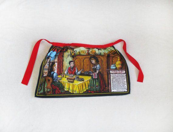 Vintage french apron cotton apron vintage by WorldwideVintageShop