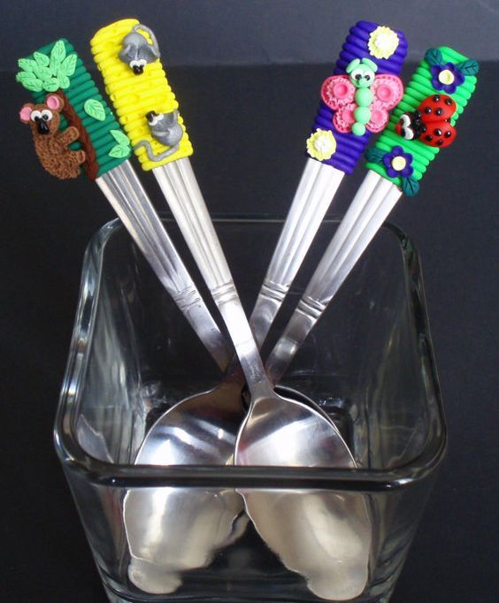 Cute Stainless Steel Teaspoons - Polymer Clay, http://www.etsy.com/shop/Ivcas?ref=si_shop: