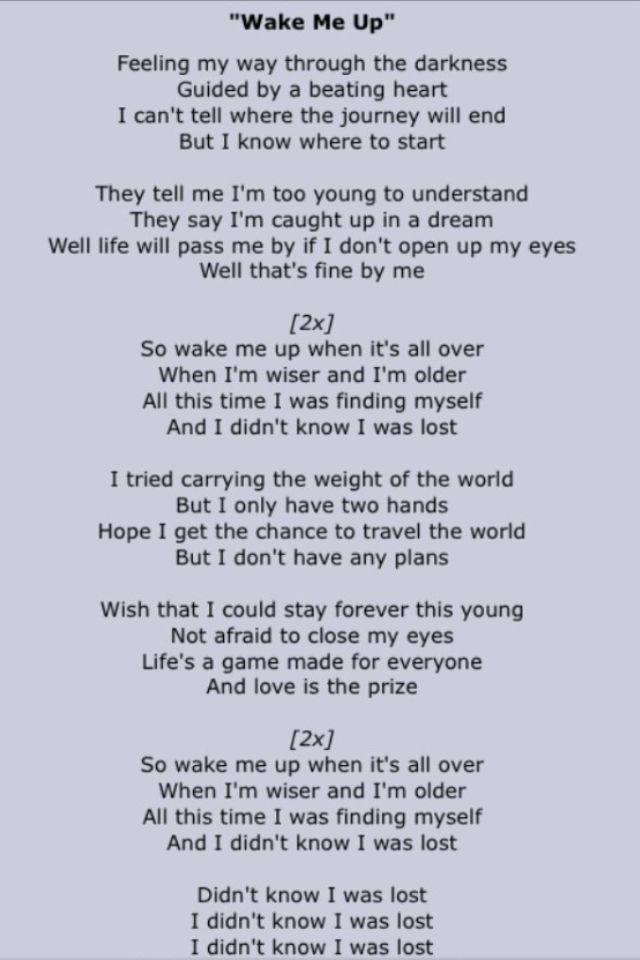 Avicii #WakeMeUp #Lyrics
