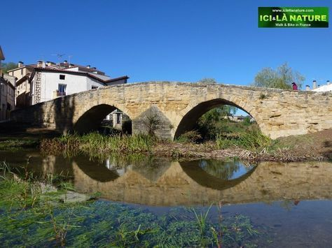 The medieval bridge of Villatuerta , Navarra, Spain.