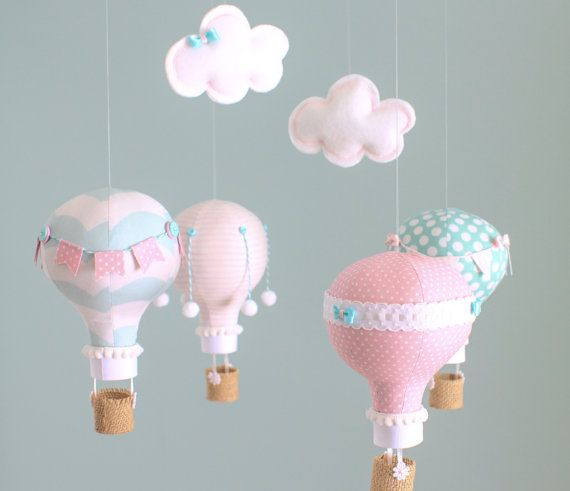 Pink and Aqua Baby Mobile Hot Air Balloon by sunshineandvodka, $110.00