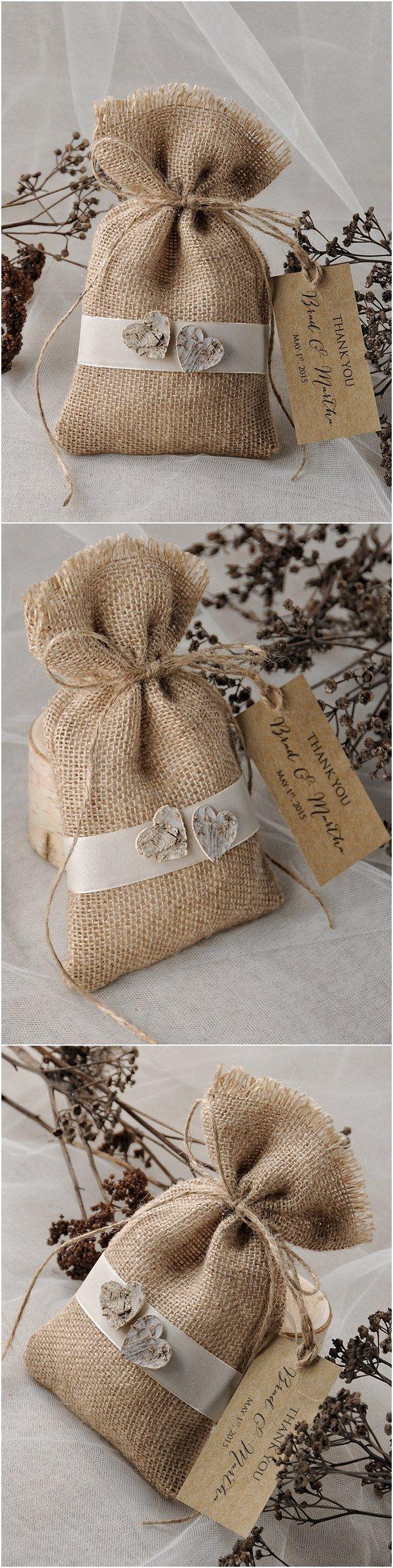 Rustic country burlap wedding favor bags #rusticwedding #weddinggifts #countrywedding                                                                                                                                                                                 More
