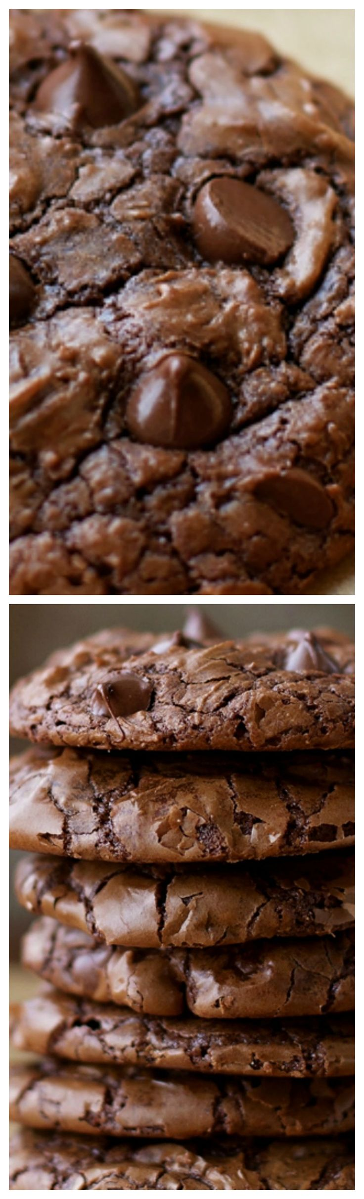 Fudgy Brownie Cookies ~ Crisp, chewy and loaded with chocolate... These fudgy brownie cookies are the best of both worlds!