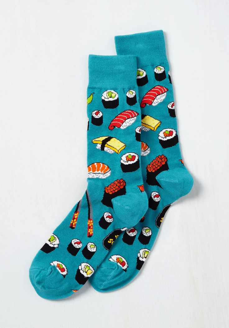 Say What You Sushi Men's Socks. Afternoon lunch is perfectly playful when your fella is sporting these sushi-patterned socks at the table! #blue #modcloth