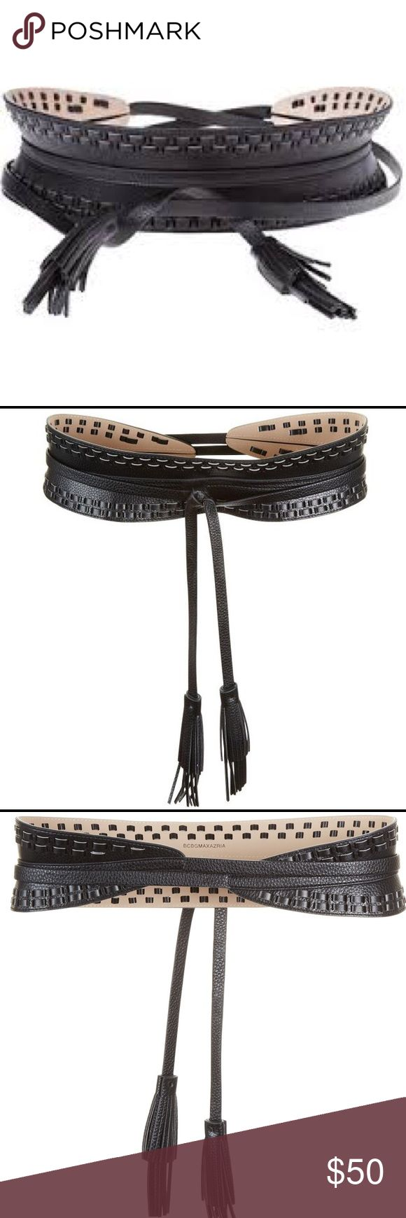 """Hot🔥 BCBGMAXAZRIA Whipstitch Waist Belt BCBG XS/S In pebbled faux leather, this waist-defining belt is elevated with textural whipstitch detail and tassel tips for a bohemian-chic touch. Fantastic piece - great fit and easy to wear.   Adjustable tie closure. Circumference of body of belt 25"""" (without tie) BCBGMaxAzria Accessories Belts"""