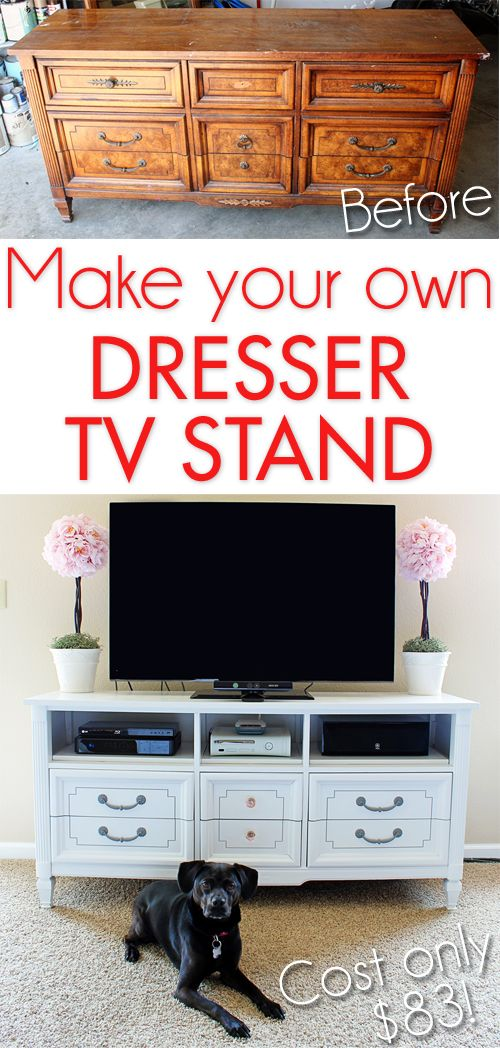 Make your own dresser TV stand for less than $85!:  Could use that old dresser that I have...it has nice lines.
