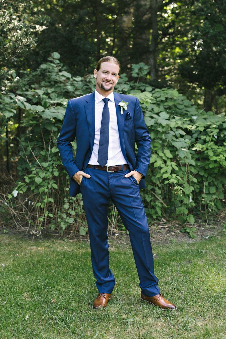 Groom Fashion Blue Suit Brown Shoes Succulent Bout Tie