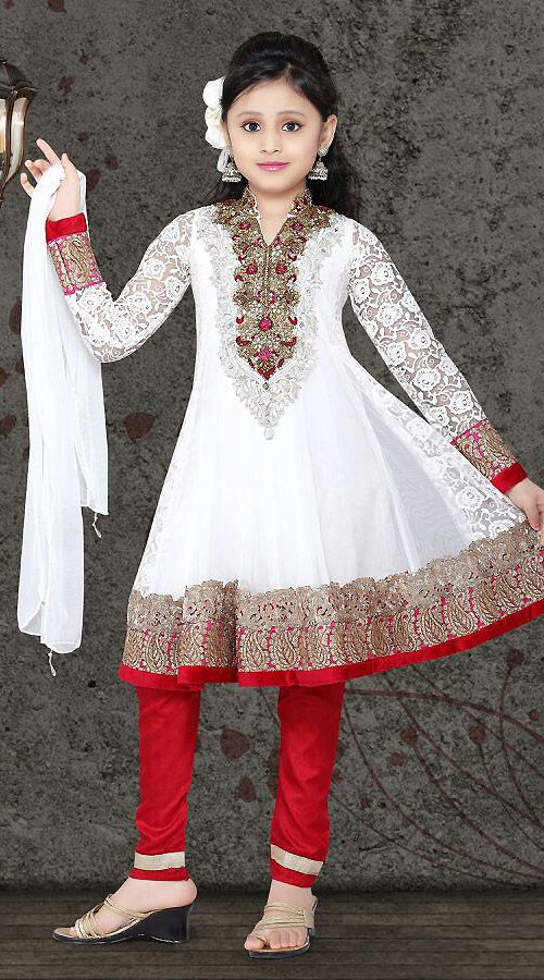 Gaudy White Net Readymade Kids Suit DT502829