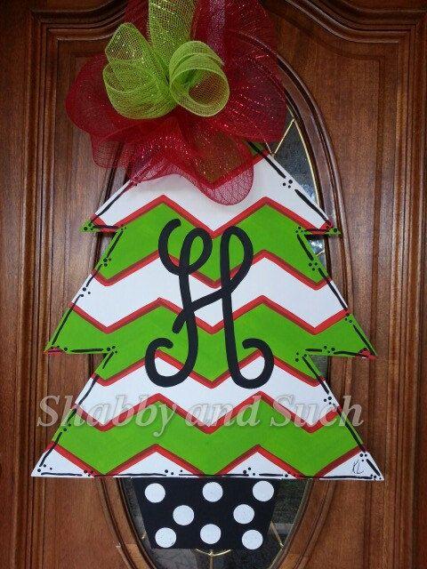 Chevron Christmas Tree Door Hanger Door by shabbyandsuchdesigns, $45.00