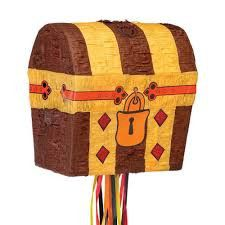 This treasure chest is perfect for your pirate themed birthday party. Decorated in brown, yellow, and orange. 11'' x 8.5'' x 12'' This Pinata is the traditional style, so get out your Pinata bat and b