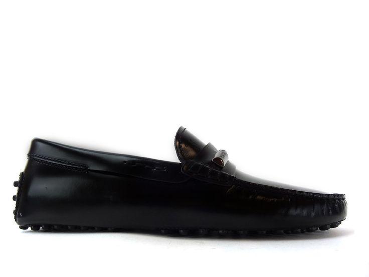 Mocassins Tod's - Gommini Tresse en cuir glacé noir. Chaussures De ...