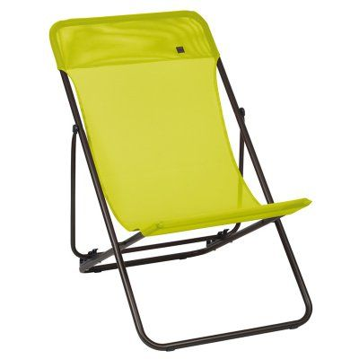 Outdoor Lafuma Maxi Transat Batyline Folding Sling Chair - Set of 2 Papageno Fabric (Brown Frame) - LFM2502-6894