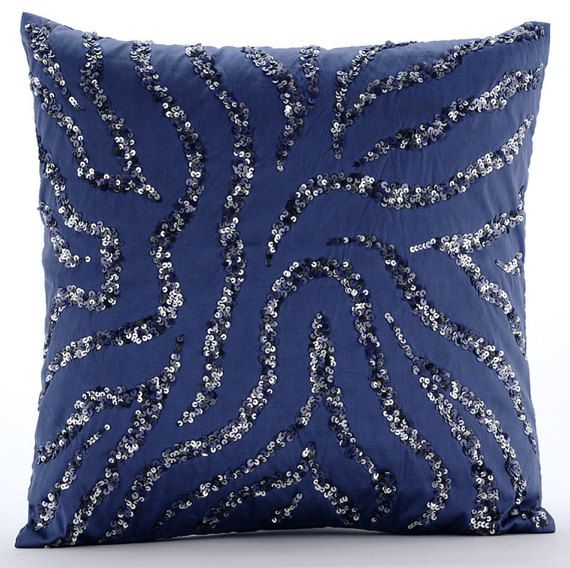Whirlpool - 16x16 Inches Sequins Embroidered Midnight Blue Taffeta Throw Pillow.