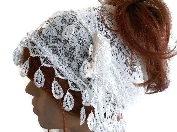 White Lace Hair Band, Female Head Band, Scarf Bandana, Lace Bandana, Head Band, Hair Band, Festival Band, Adult Head Band, White Head Band by MimosaKnitting on Etsy