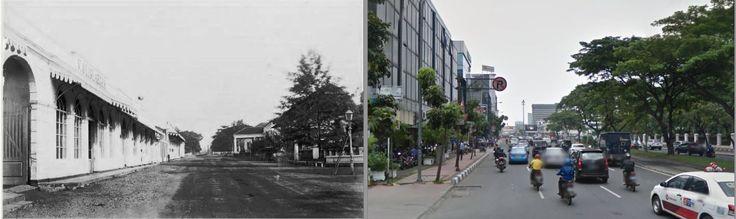 Rijswijkstraat te Batavia, vanuit het zuiden gezien, met links het gebouw van de firma V. Olislaeger, juweliers en horlogemakers, voor 1880, ,., jl Majapahit, Jakarta,  2014