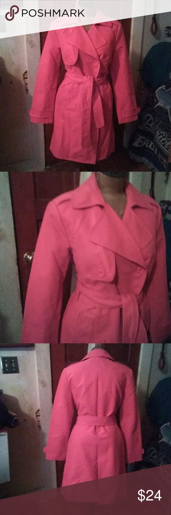 """Womens pink short belted spring rain trench coat M Womens pre-owned Will Smith trench in a gorgeous pink! Size M. Comes to above the knee on me & I'm 5'5"""". Only worn a few times, excellent condition. Willi Smith Jackets & Coats Trench Coats"""