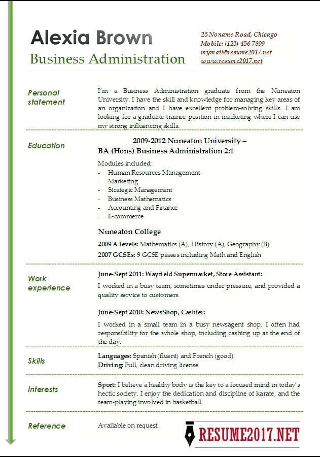 Resume Example For Busines Template Administration Examples Administrator Cv Personal Statement