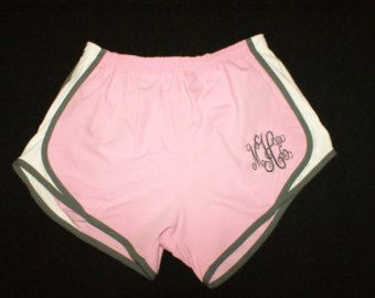 Monogram Running Shorts Cheer Shorts Athletic by PoshPrincessBows1