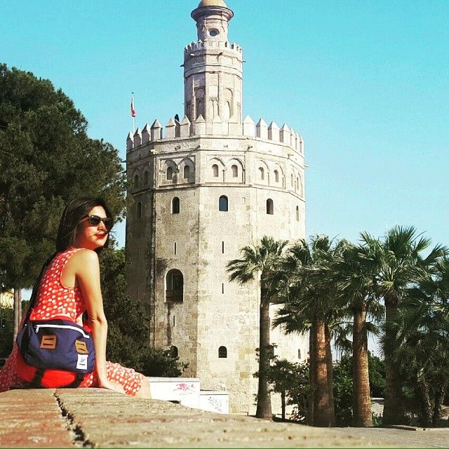 Our messenger bag at torre del oro or gold's tower Seville Spain, #holiday #spain #sevilla #bags #backpack #backpackerindonesia #stylishtraveling #traveling #traveler #outdoors #products #urbantraveling
