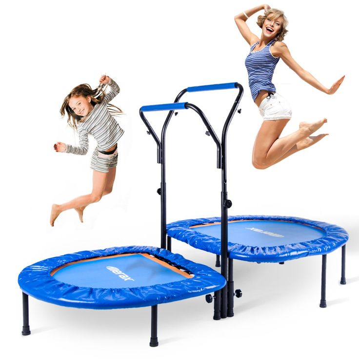 Merax Kids Mini Trampoline Parent-Child Trampoline with Adjustable Handlebar. Two separate rebounding surface for more stability and parent-child activities. Rust-resistant frame offers long-term use warranty. Easy to assemble, no additional tools required. Perfect for 2 Kids or parent-child activities. Maximum weight of the user (Parent: 250 lbs; Child: 150 lbs).