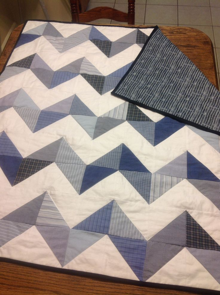 Baby Boy Chevron Quilt - Made from Recycled 100% cotton  men's shirts.