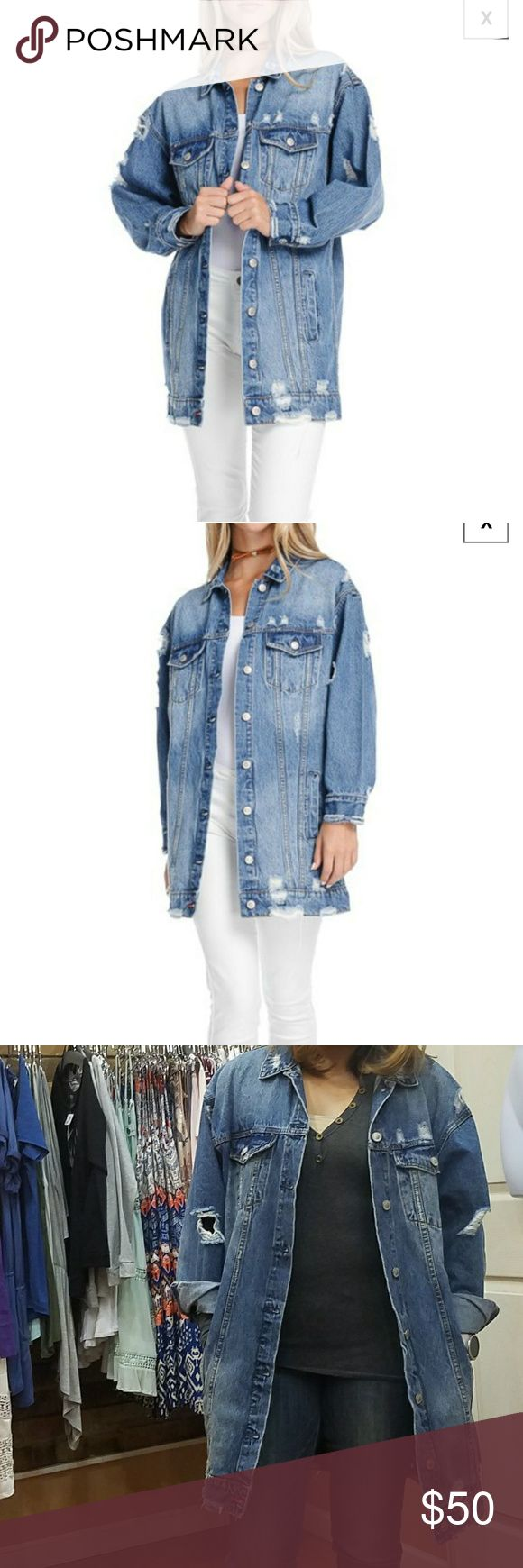 Apricot Lane - Fiore - Oversized jean jacket Distressed oversized denim jacket. I fit a size small but the one I have on is a L. Unique and trendy. Only worn twice. $50 obo. Great with shorts and tank top, jeans or leggings... versatile. Fiore Jackets & Coats Jean Jackets