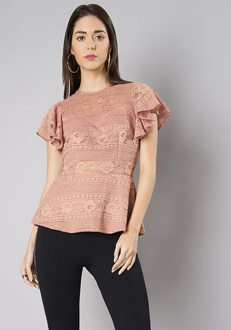 fd616f25709 Millennial Pink Ruffled Lace Top  Fashion  FabAlley  Love  Girls  Friend   GirlsFriend  Gift  ValentineDay  LaceTop  Ruffled
