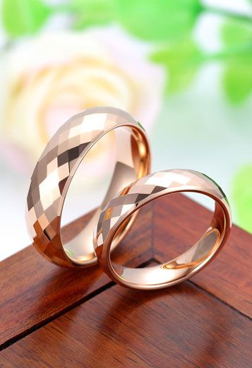 Domed + Faceted Matching Rose Gold Tungsten Wedding Bands Set - 4 mm, 6 mm -Rose Gold, White & Black