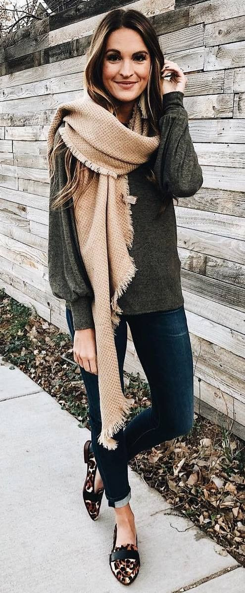 how to wear a nude scarf : sweater   skinnies   loafers