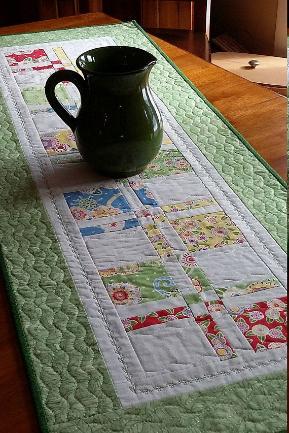 """Quilted Floral Table Runner, Spring Colors, Green, Yellow, White Table Runner, 16.5x48"""", Quilted Table Decor, Quiltsy Handmade"""