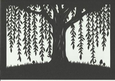 Woodland Willow Tree Silhouette Scene - art print of original handmade papercut Art Print