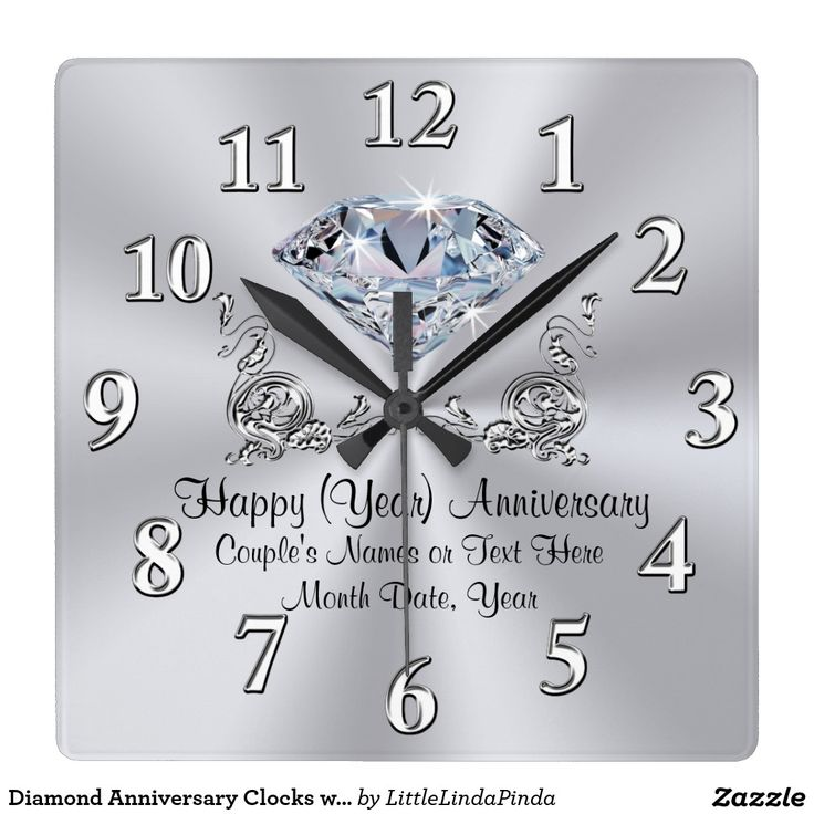 Diamond Anniversary Clocks with Your TEXT and the YEAR (Change for 60th to 70th Birthday Clocks or Diamond Wedding Gifts. CLICK: http://www.zazzle.com/diamond_anniversary_clocks_with_your_text_and_year-256130435736408091 Gorgeously designed Personalized Anniversary Gifts for Her for ANY YEAR or ANY OCCASION. See more Personalised Anniversary Gifts HERE: http://www.zazzle.com/littlelindapinda/gifts?cg=196050721621507373&rf=238147997806552929 HELP, CHANGES, Call Zazzle Designer Linda…