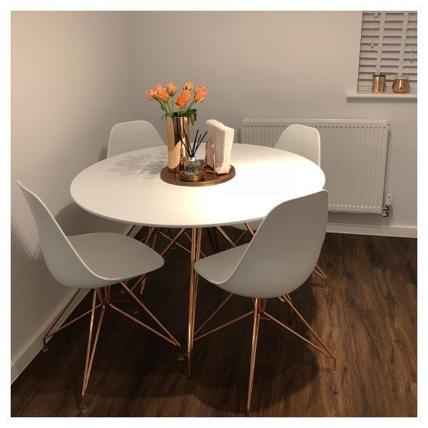 Moda Cd1 Round Dining Table Metal Legs White And Chrome 110cm In