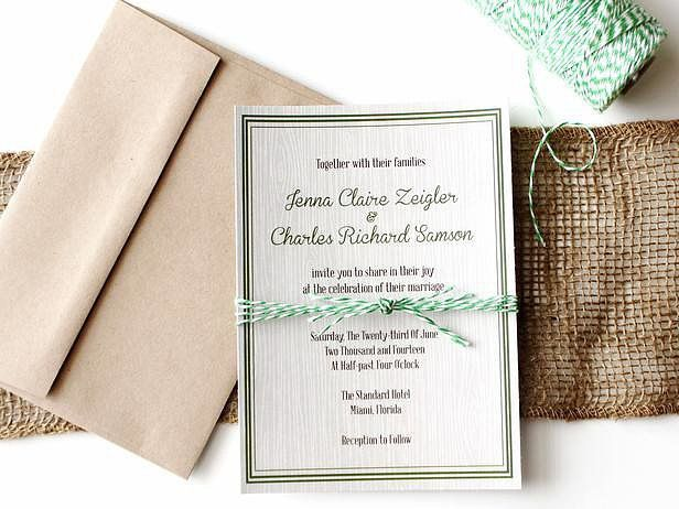 Rustic Wood-Grain Wedding Invitation