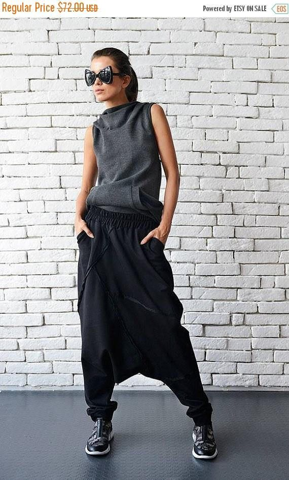 ON SALE Extravagant Black Pants/Loose Casual Pants/Comfortable