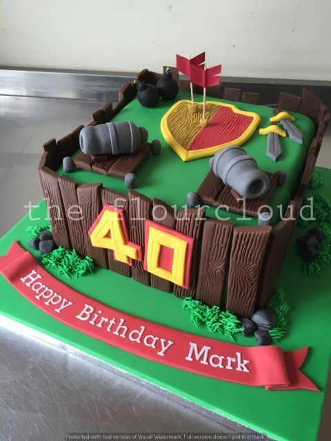 Clash of Clans themed birthday cake.