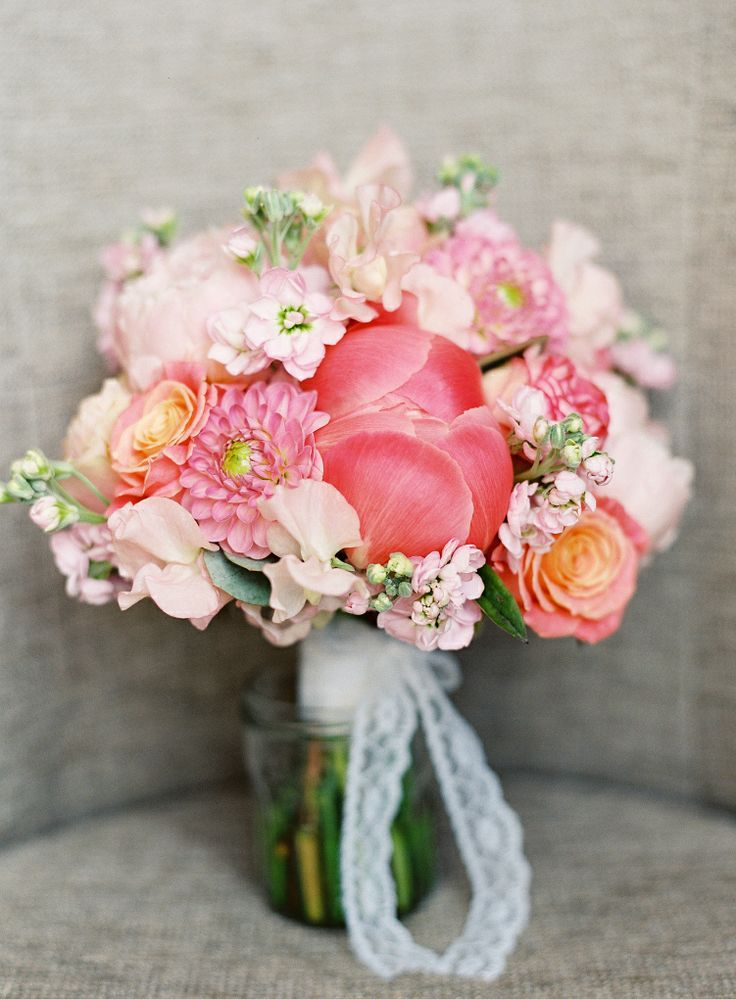 Peachy Pink Bouquet by Fairynuff Flowers with Lace Ribbon Tie