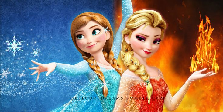 Anna of Ice | Elsa of Fire actually tho if I did this I would have elsa be snow powers and Anna have fire cuz Anna's hair is already a good color for fire and elsa is already ice queen