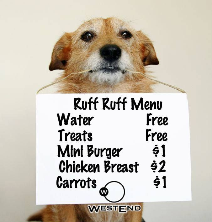 Next time you're out Walking the Dog, Stop by for Dinner and Drinks on our Patio and ask for our Doggie Menu!