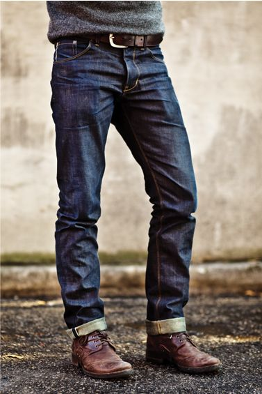 nice fit: raleigh denim.  These jeans have a great casual look, but aren't sloppy.  They'll look great if you don't want to cuff them, too.