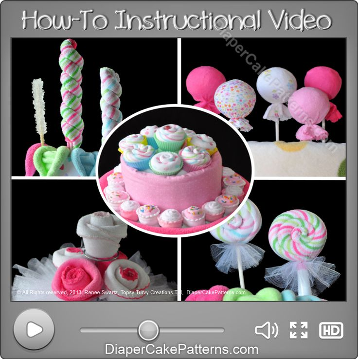 cupcake diaper cake | ... and Cupcakes Savings Bundle – 5 Videos | Diaper Cake Patterns