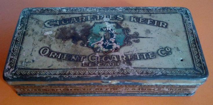 SCATOLA LATTA VINTAGE 50 SIGARETTE KEFIR CIGARETTES ORIENT LE CAIRE OLD TIN CAN