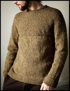 """I love the way a rustic, tweedy wool looks when worked in garter stitch,"" says designer Jared Flood. Inspired by the rustic textures of Dublin's city's streets and buildings, he designed this seamless pullover to be both intuitive to work and easy to wear. With a rounded garter yoke and garter panels flanking the body on each side, the design brings geometry to the classic wool sweater."