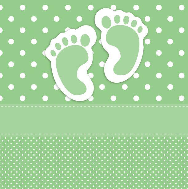 Green polka dots baby footprints card template for scrapbooking