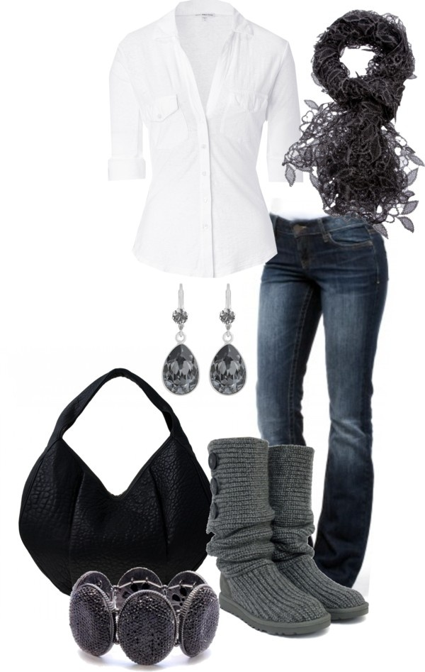 Casual, white blouse with blue jeans and black and grey accessories.