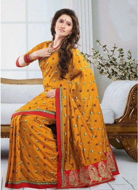 Tantalizing Deep Yellow Embroidered Color Art Silk Based Embroidered #Saree #clothing #fashion #womenwear #womenapparel #ethnicwear